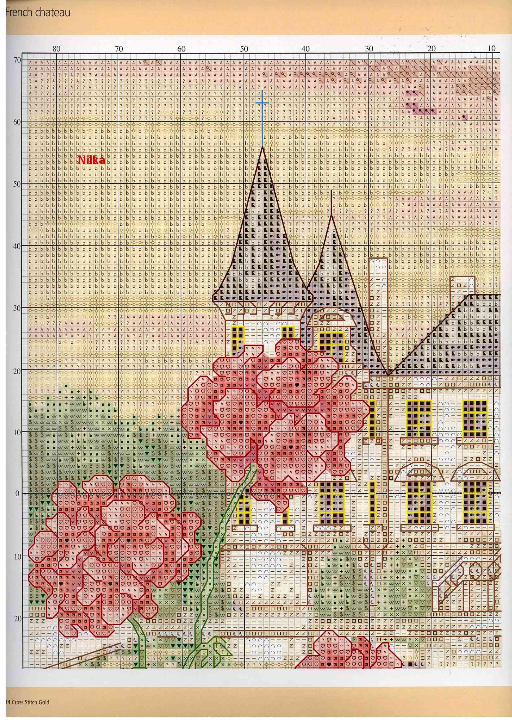 Схема для вышивки крестом замки и 769