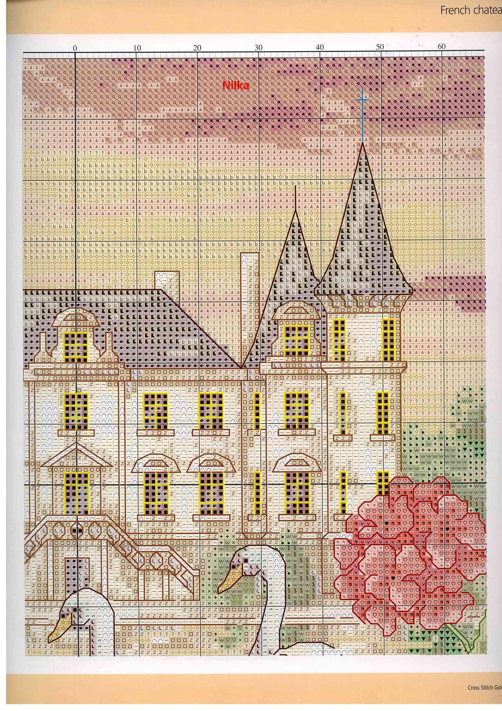 Схема для вышивки крестом замки и 133